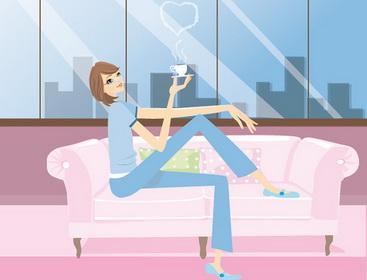 Девушка пьет кофе рисунок